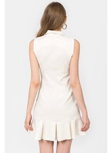 İroni Kolsuz Blazer Elbise Bej